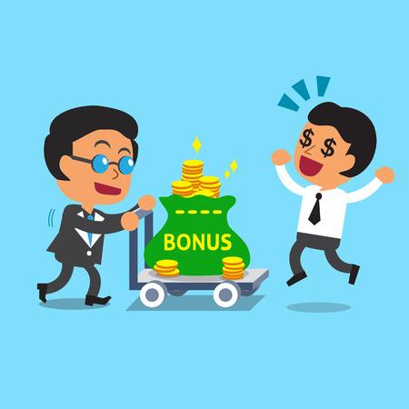 Cartoon business boss pushing bonus money trolley to businessman