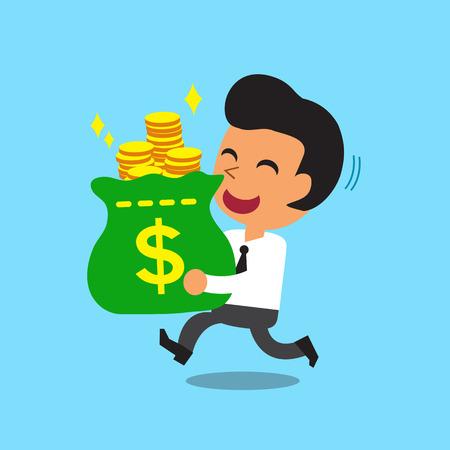 Businessman carrying money bag Illustration