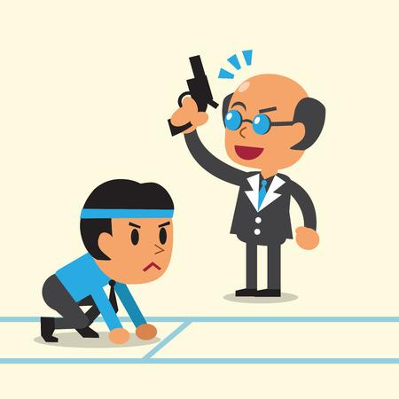 man gun: Business concept business boss coaching a businessman to run