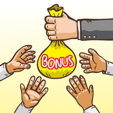wealthy lifestyle: Cartoon Hands Giving and Receiving Bonus Bag Illustration
