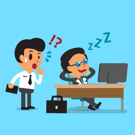 team worker: Cartoon business boss falling asleep at his office desk