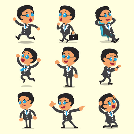 Cartoon zakelijke baas karakter vormt op gele achtergrond