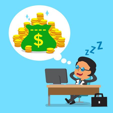 Cartoon business boss falling asleep and dreaming about money