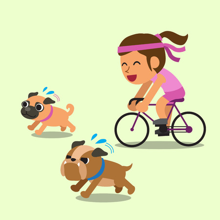 women exercise: Cartoon woman ride bike with running dogs
