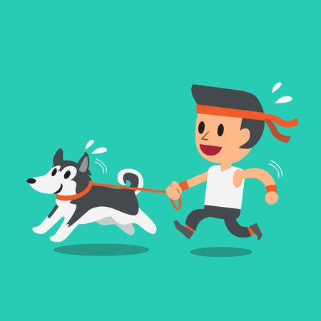 그의 시베리안 거친 강아지와 함께 실행하는 만화 남자