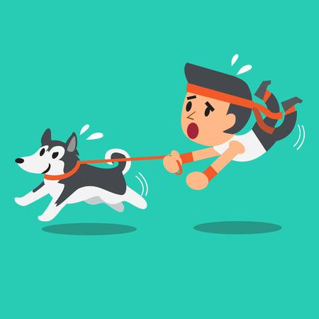 �siberian husky�: Cartoon man pulled by his siberian husky dog
