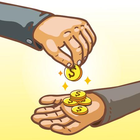 beggar's: Cartoon Hands Giving and Receiving Money