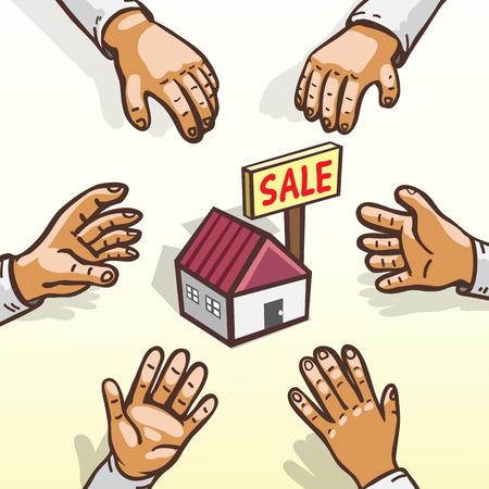 locales comerciales: Los compradores de vivienda Concepto de bienes raíces se apresuran