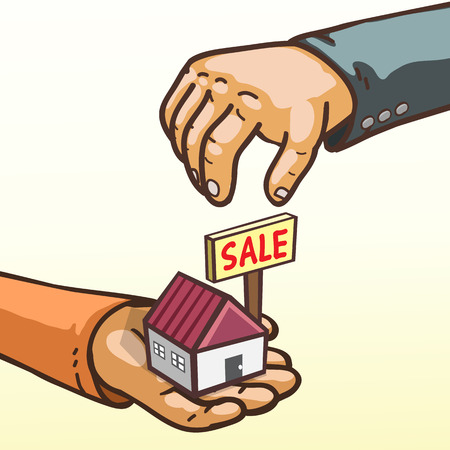 proprietor: Real estate concept hands giving and receiving house for sale