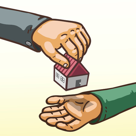 receiving: Real estate concept hands giving and receiving house toy