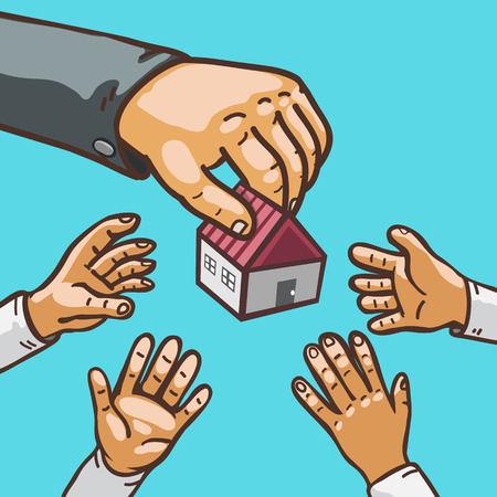 Real estate concept hands giving and receiving house