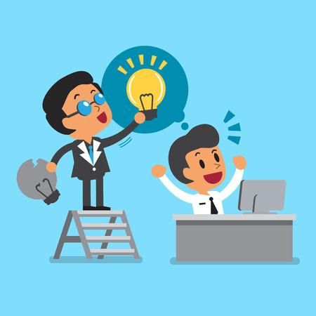 beeldverhaal baas het geven van nieuw idee te zijn werknemer Stock Illustratie