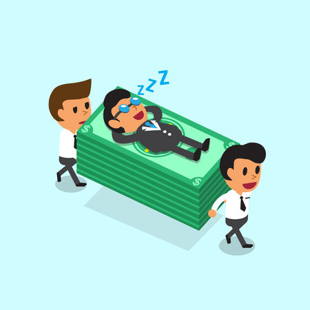 cartoon businessman: Cartoon business team carrying money stack but business boss fall asleep