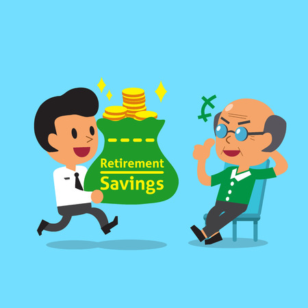 old people smiling: Cartoon businessman carrying retirement savings bag for old man