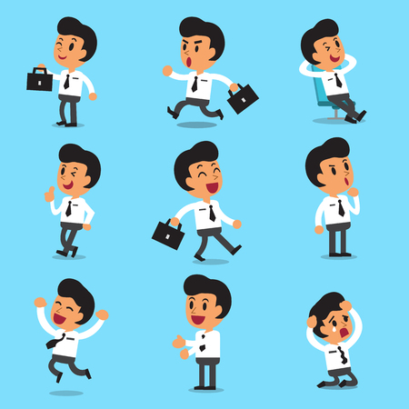 Cartoon businessman character poses