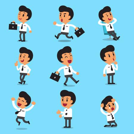 Cartoon businessman character poses