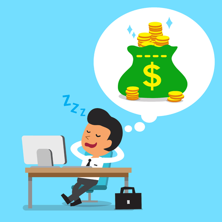 Cartoon businessman falling asleep and dreaming about money Stock Illustratie