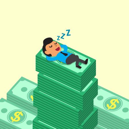 Cartoon businessman falling asleep on money stacks