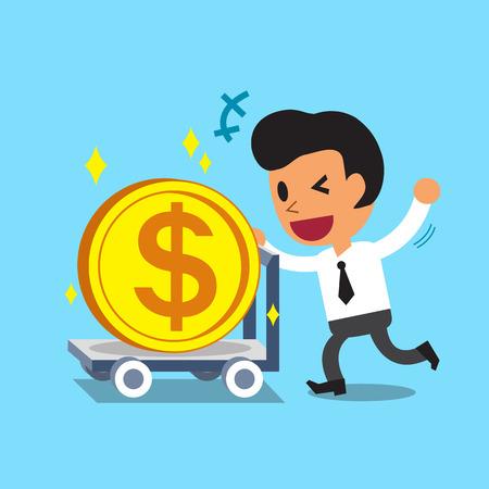 businessman shoes: Cartoon businessman pushing big coin trolley Illustration