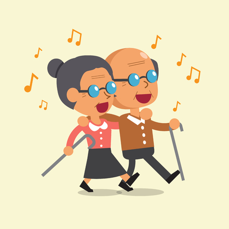 Cartoon old man and old woman walking and singing together Stock Illustratie
