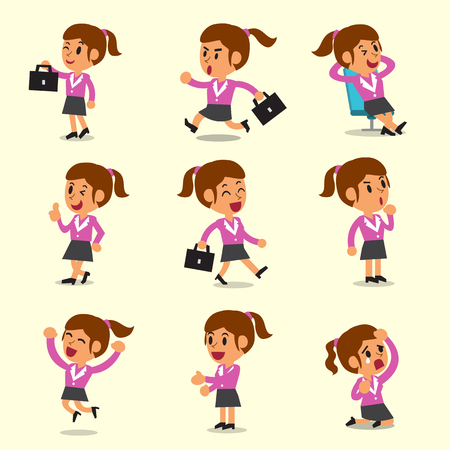 Cartoon businesswoman character poses on yellow background Illustration