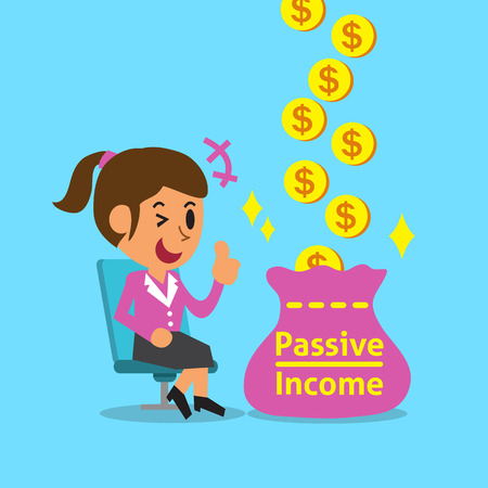 passive: Cartoon businesswoman earning passive income Illustration