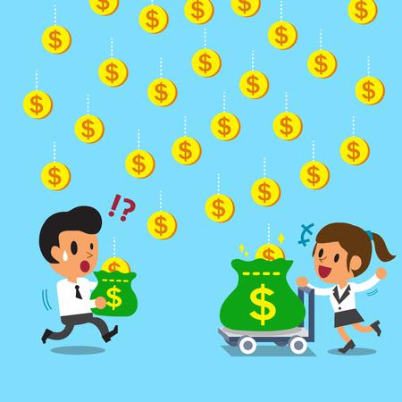hombre cayendo: Empresaria de dibujos animados gana más dinero que empresario por carro Vectores