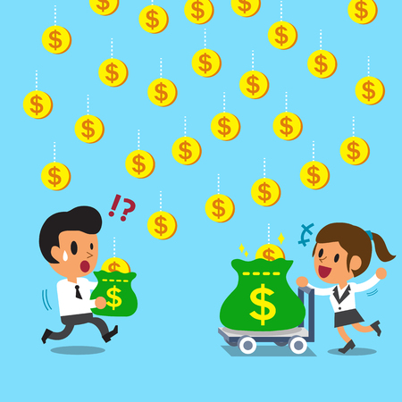 zakenvrouw Cartoon verdient meer geld dan zakenman door trolley