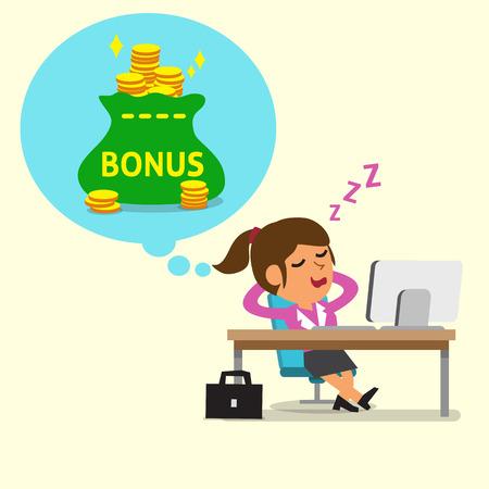Cartoon businesswoman falling asleep and dreaming about bonus money