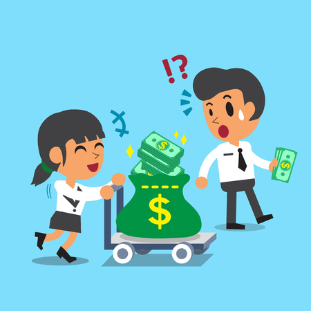 small business woman: Cartoon businesswoman pushing money trolley and businessman carrying some money