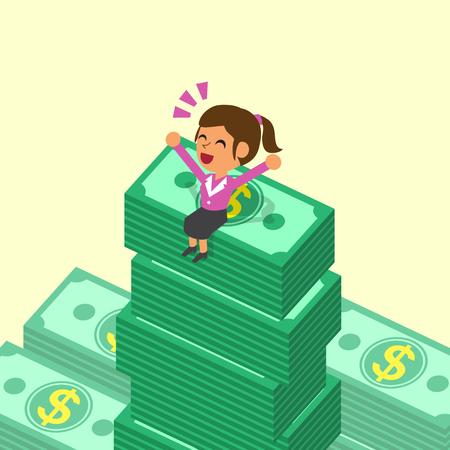 Cartoon businesswoman sitting on money stacks