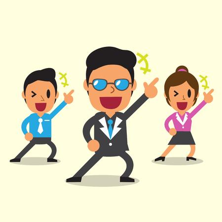 幸せの黄色背景のチームのビジネス漫画します。  イラスト・ベクター素材