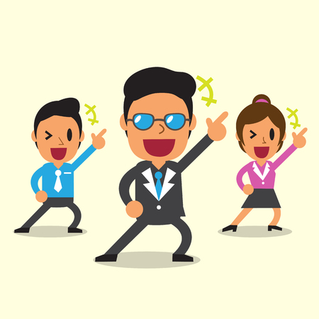 woman jump: Cartoon happy business team with yellow background Illustration