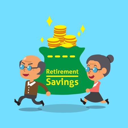 漫画老人と老婆の退職貯蓄を運ぶバッグします。  イラスト・ベクター素材