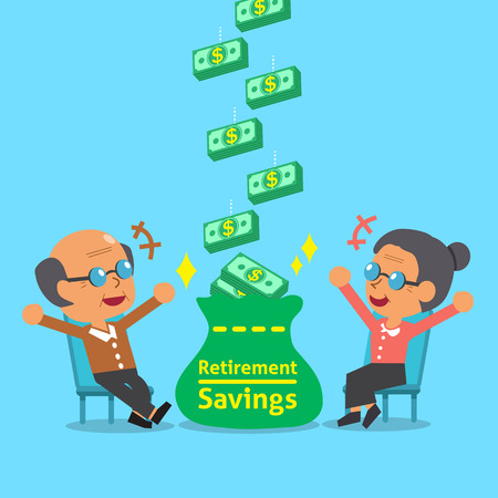 retirement savings: Cartoon old woman and old man receiving retirement savings Illustration