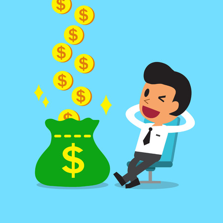 dinero: Cartoon relajarse empresario ganar dinero