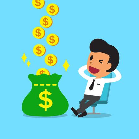 Relax Cartoon zakenman met geld verdienen Stock Illustratie