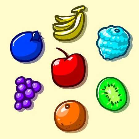 platano caricatura: Set de iconos de las frutas Vectores