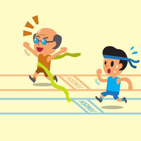 Cartoon old man winning a race before a young man