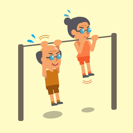 strong chin: Cartoon old man and old woman doing chin ups exercise together