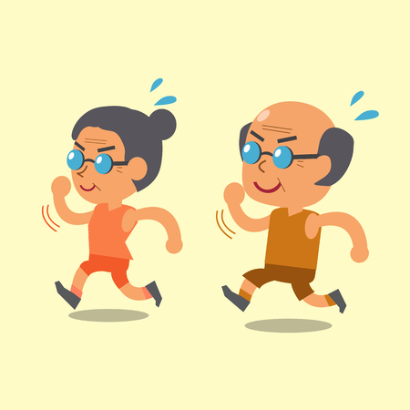Cartoon old man and old woman running together