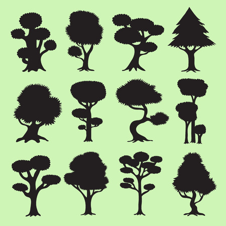 tree silhouettes: Tree silhouettes set Illustration