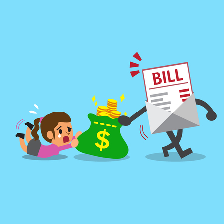 bill payment: Business concept bill payment getting money from a woman Illustration