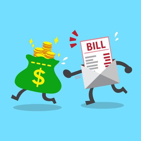 Business-Konzept Geldbeutel Flucht aus Rechnungszahlung Standard-Bild - 45018089