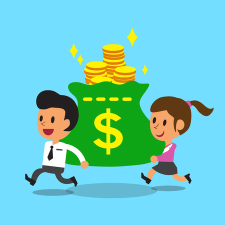 businessman shoes: Businessman and businesswoman carrying big money bag Illustration