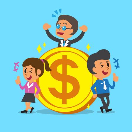 큰 동전 비즈니스 개념 비즈니스 팀