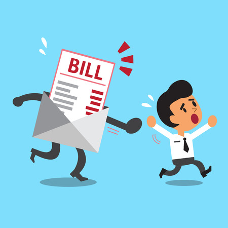 bill payment: Business concept cartoon businessman escaping from bill payment