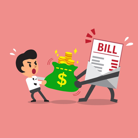 bill payment: Cartoon bill payment character and businessman do tug of war with money bag