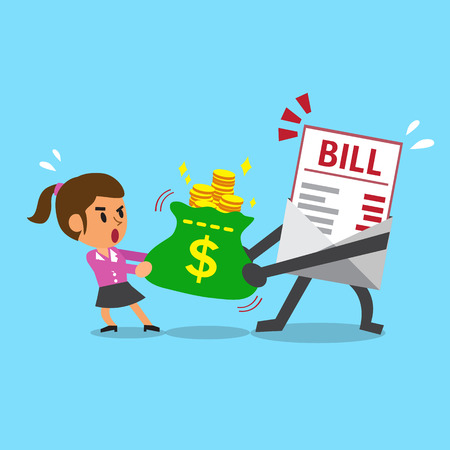 Cartoon bill payment character and businesswoman do tug of war with money bag Stock Illustratie