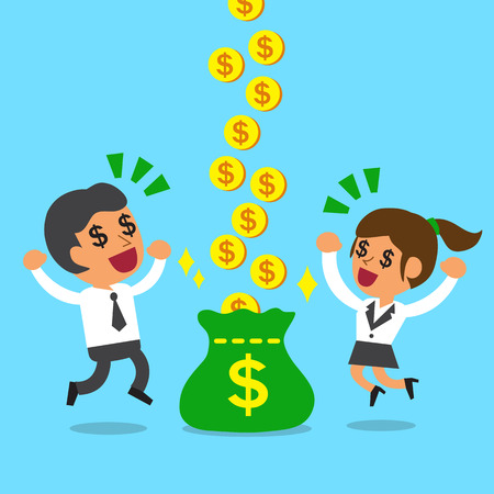 Businessman and businesswoman earning money together